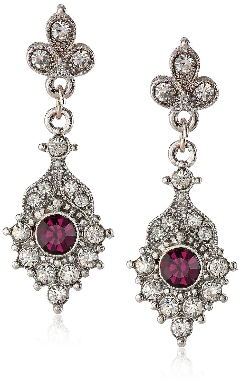 银镶白水晶配紫水晶耳坠