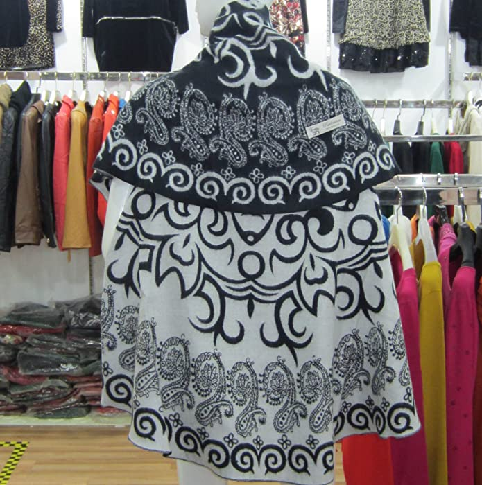 新疆特色图案 斗篷披肩双用长巾 民族风 黑色