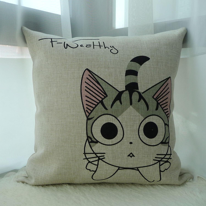 vangl 凡格 起司猫 棉麻抱枕 美式乡村文艺 办公室沙发汽车靠垫抱枕腰图片