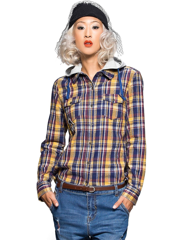 ES 艾格运动 女式 格纹拼接连帽衬衫 14031443299 【ES 艾格运动】 服饰箱包