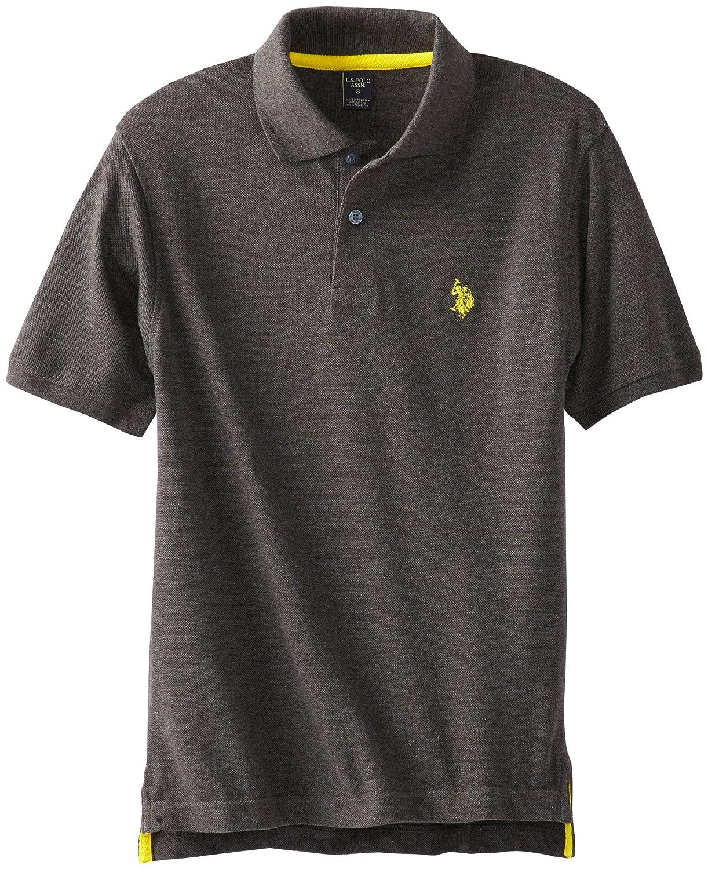 dark gray polo shirt  solid pique polo
