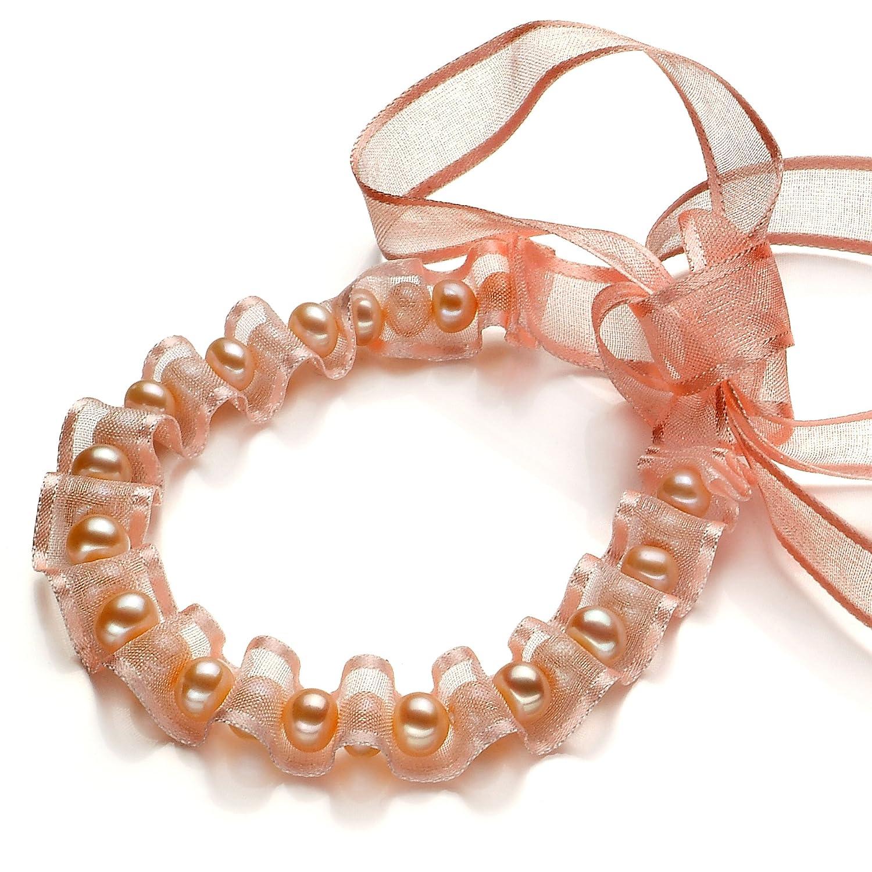 缤纷美饰-天然珍珠丝带手链-非常完美-粉
