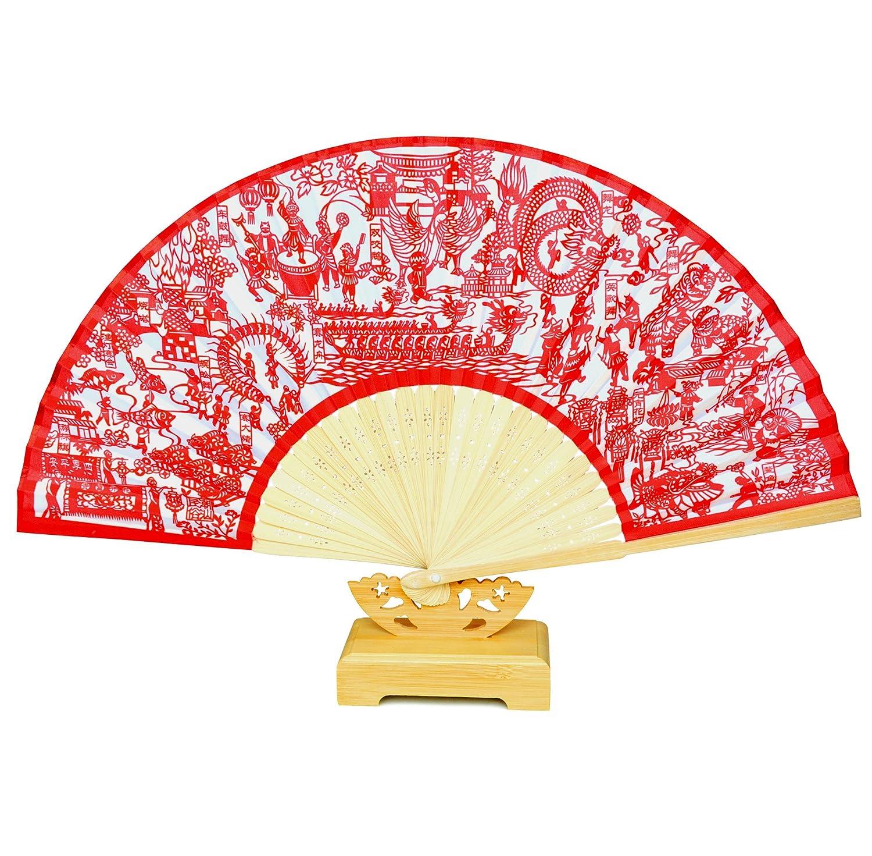 潮汕民俗剪纸艺术折扇 配底座 单把装 南洋文化 正品