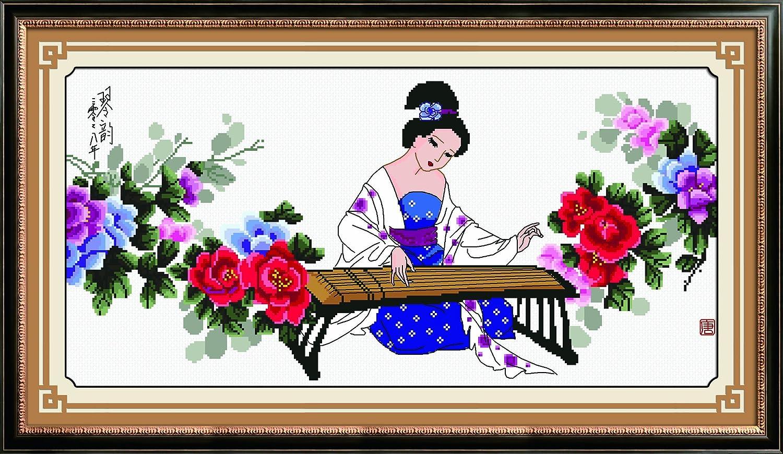 多美绣 dmc法国进口绣线 十字绣 中国风情花卉牡丹天姿国色 11ct白布