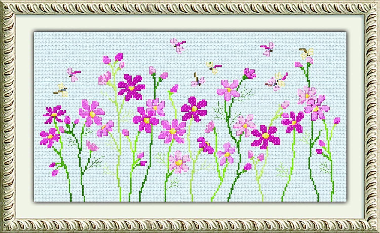 多美绣 dmc 十字绣 花卉-缤纷小花与蜻蜓 免费画格 新手精选 14ct浅蓝