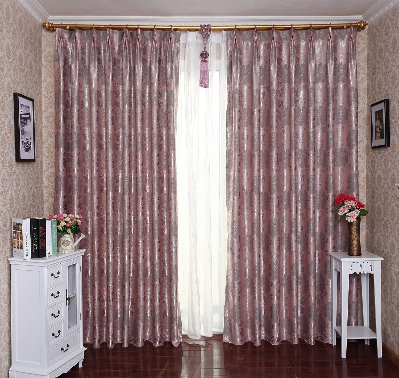 理想家 客厅卧室成品窗帘 唯美婚庆风格欧式大花遮光窗帘qf-26粉色