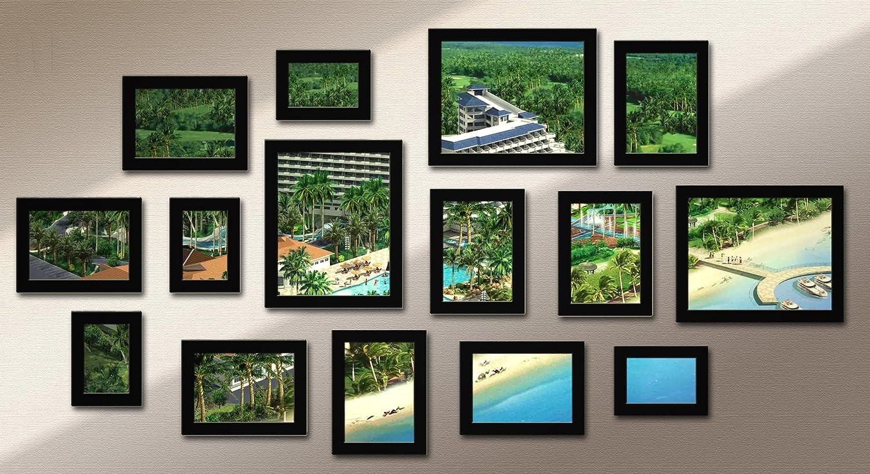 佳美15相框实木照片墙组合-107黑色