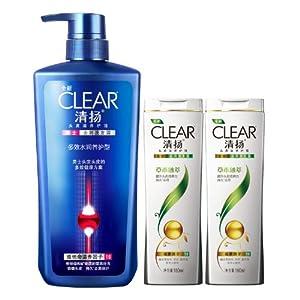 CLEAR清扬洗发露套装(多效水润养护型750ml(男士或女士随机发送)+草本融萃型160ml*2)